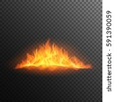 realistic burning fire flame ... | Shutterstock .eps vector #591390059