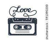 hand drawn 90s themed badge... | Shutterstock .eps vector #591390200