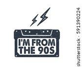 hand drawn 90s themed badge... | Shutterstock .eps vector #591390224