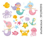 set of cute mermaids and... | Shutterstock .eps vector #591390593