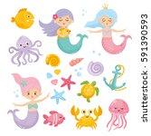 set of cute mermaids and... | Shutterstock .eps vector #591390593