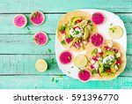 healthy mexican corn tacos with ... | Shutterstock . vector #591396770