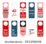 set of cute funny notes on door ... | Shutterstock . vector #591398348