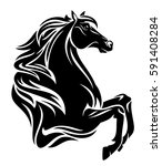 beautiful black horse with long ... | Shutterstock .eps vector #591408284