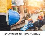 engineer orders for workers to... | Shutterstock . vector #591408839