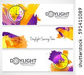 daylight saving time concept... | Shutterstock .eps vector #591411089