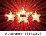 retro light sign. three gold... | Shutterstock .eps vector #591411629