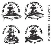 Set Of Fishing Club Labels...