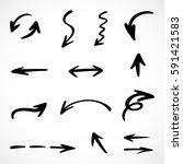 hand drawn arrows  vector set | Shutterstock .eps vector #591421583
