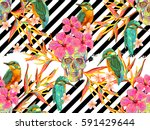 seamless summer tropical... | Shutterstock .eps vector #591429644