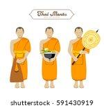 thai monks collections. vector ... | Shutterstock .eps vector #591430919