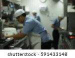 blurred restaurant kitchen chef ... | Shutterstock . vector #591433148