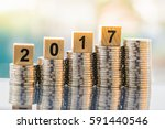 2017 new year with stacked... | Shutterstock . vector #591440546