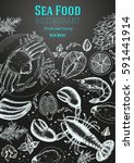 vintage sea food frame vector... | Shutterstock .eps vector #591441914