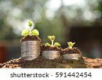 save money with stack coin and... | Shutterstock . vector #591442454
