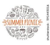 summer picnic concept. hand... | Shutterstock .eps vector #591445016