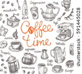 coffee time concept. lettering... | Shutterstock .eps vector #591445028