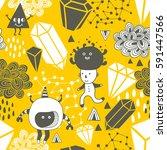 seamless pattern with strange... | Shutterstock .eps vector #591447566