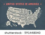 poster map of united states of... | Shutterstock .eps vector #591448040