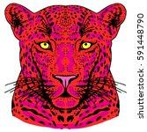 leopard face tattoo  vector... | Shutterstock .eps vector #591448790