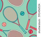 colorful racket and tennis ball ... | Shutterstock .eps vector #591456524