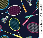 retro colorful badminton racket ... | Shutterstock .eps vector #591456530