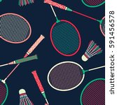 retro colorful badminton racket ... | Shutterstock .eps vector #591456578
