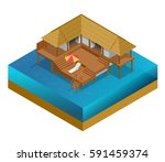 isometric bungalow. summer... | Shutterstock .eps vector #591459374