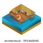 isometric bungalow. summer... | Shutterstock . vector #591460040