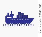cargo ship silhouette icon.... | Shutterstock .eps vector #591461600