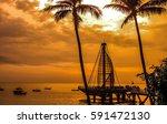 los muertos pier during... | Shutterstock . vector #591472130