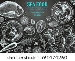 vintage seafood frame vector... | Shutterstock .eps vector #591474260