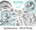 vintage seafood frame vector... | Shutterstock .eps vector #591474266