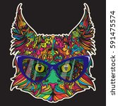 vector face of cat with glasses.... | Shutterstock .eps vector #591475574