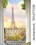 beautiful view from the balcony ... | Shutterstock . vector #591477230