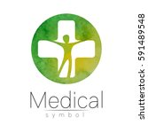 vector medical sign logo  with... | Shutterstock .eps vector #591489548
