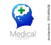 vector medical sign logo with... | Shutterstock .eps vector #591489638