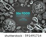vintage seafood frame vector... | Shutterstock .eps vector #591491714