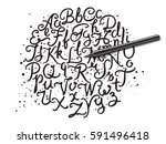 hand drawn brushpen alphabet... | Shutterstock .eps vector #591496418