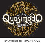 custom retro typeface quasimodo.... | Shutterstock .eps vector #591497723