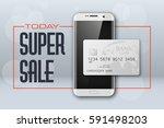 smartphone sale banner   credit ... | Shutterstock .eps vector #591498203