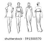sketch. fashion girls on a... | Shutterstock .eps vector #591500570