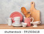kitchen utensils and tableware... | Shutterstock . vector #591503618