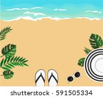 summer background.with hat ... | Shutterstock .eps vector #591505334