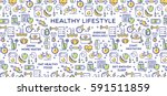 healthy lifestyle vector... | Shutterstock .eps vector #591511859