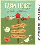 farm house vintage poster.... | Shutterstock .eps vector #591515570