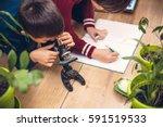 closeup of little boy using...   Shutterstock . vector #591519533