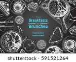 breakfasts and brunches top... | Shutterstock .eps vector #591521264