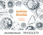 breakfasts and brunches top... | Shutterstock .eps vector #591521273
