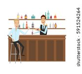 meet and discuss at the bar... | Shutterstock .eps vector #591524264